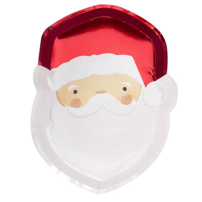 Red Foil Santa Paper Plates (Pack of 8)
