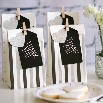 Silver & Black, Stripes & Dots - Treat Bags (Pack of 10)