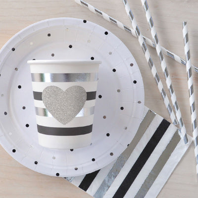 Silver & Black Stripe Cups (Pack 10)