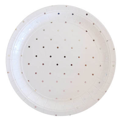 Silver Dots - Large Plates (Pack of 10)