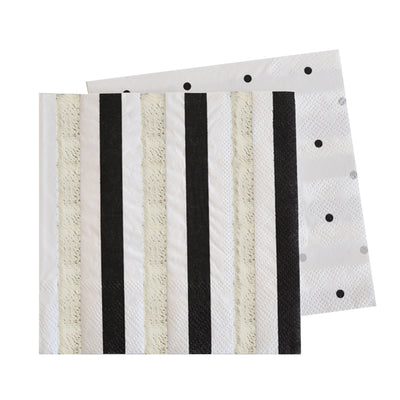 Silver & Black, Stripes & Dots Napkins (Pack of 20)