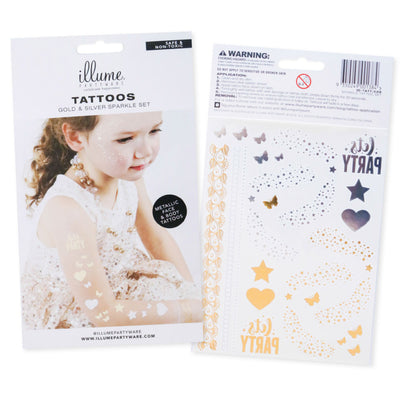 Metallic Party Tattoos - Sparkle Set (25 Tattoos)