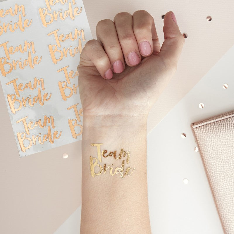Rose Gold Team Bride Temp Tattoos (16 Tattoos)