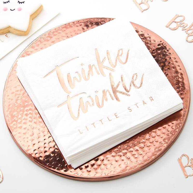 Rose Gold Twinkle Twinkle Napkins (Pack of 16)