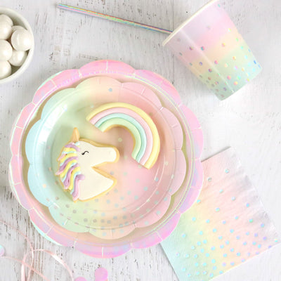 Iridescent Pastel Dessert Plates (Pack of 10)