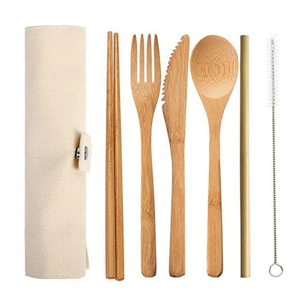 6pcs/set Bamboo Cutlery Set
