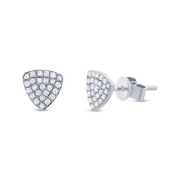 .18 Ctw Diamond & 14 Kt White Gold Triangular Studs