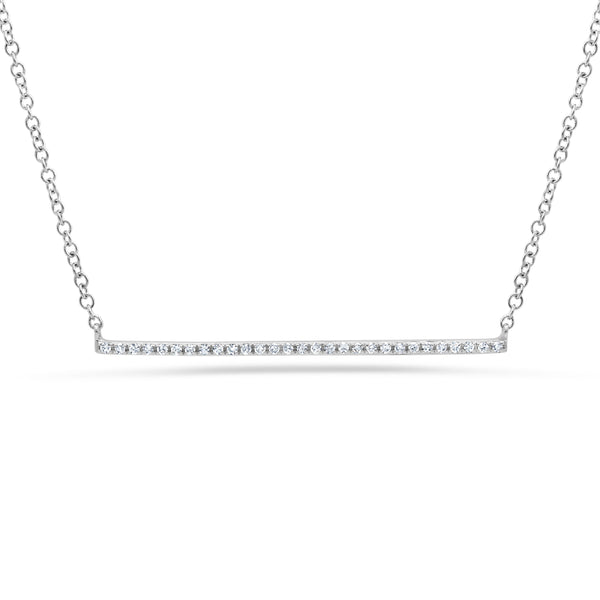 .80 Ctw Diamond & White Gold Bar Necklace