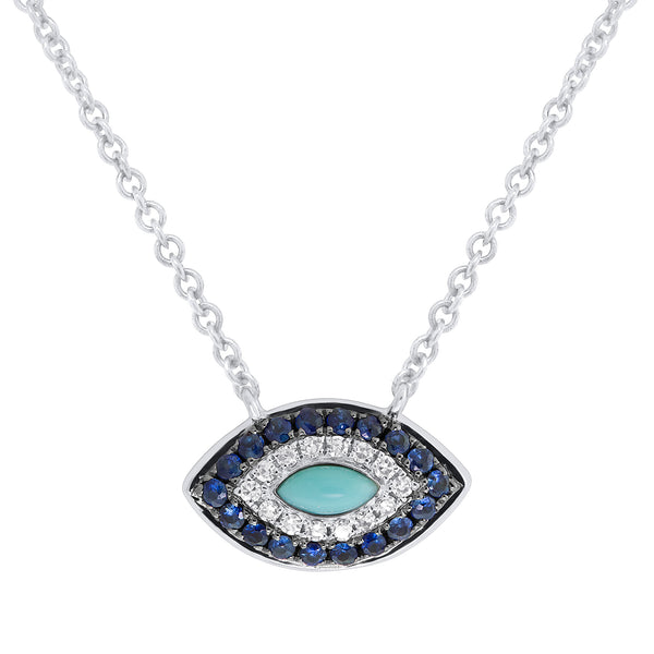 1/2 Ctw Diamond & White Gold Evil Eye Necklace
