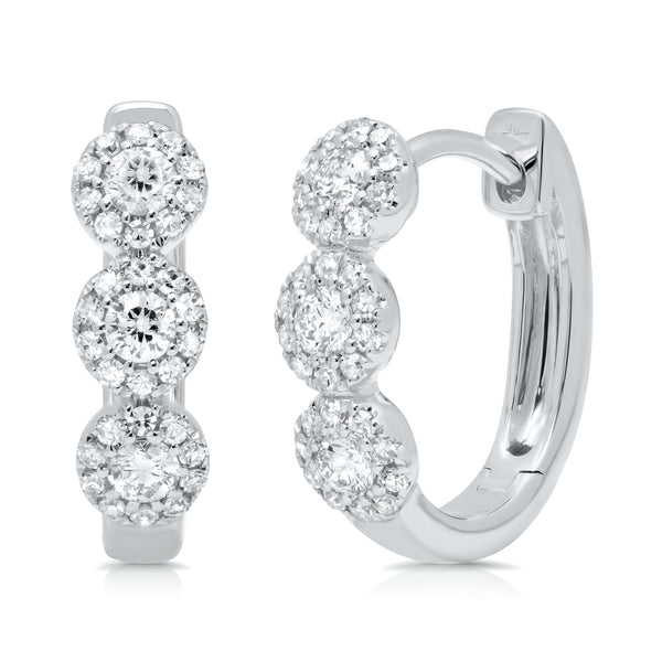 .37 Ctw Diamond & 14 Kt White Gold Hoop Earrings