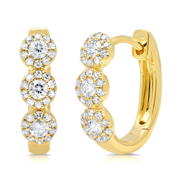 .37 Ctw Diamond & 14 Kt YG Hoop Earrings
