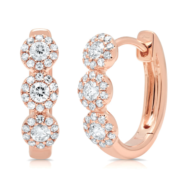 .37 Ctw Diamond & 14 Kt Rose Gold Hoop Earrings