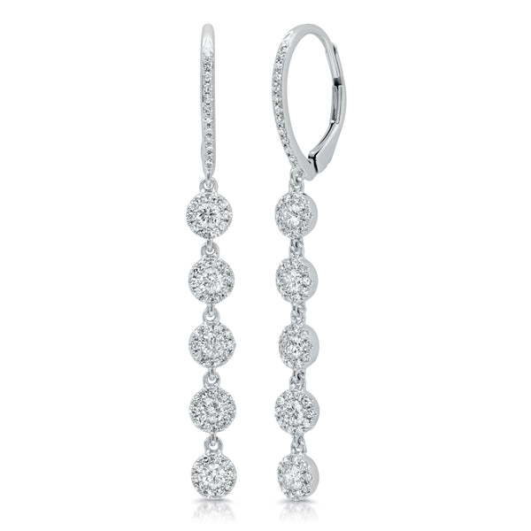.99 Ctw Diamond & White Gold Drop Earrings