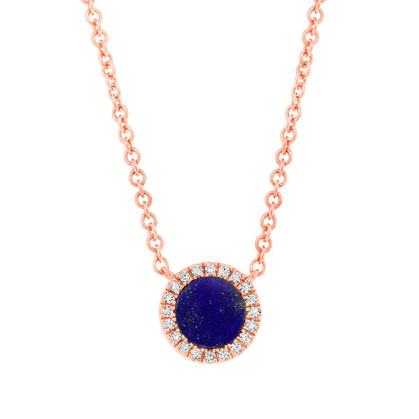 Lapis & .04 Diamond Rose Gold Necklace
