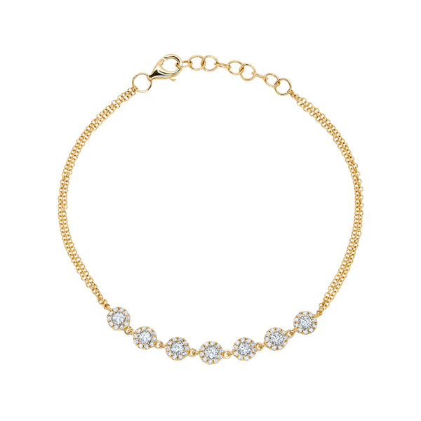 .66 Ct Diamond & 14 Kt Yellow Gold Bracelet