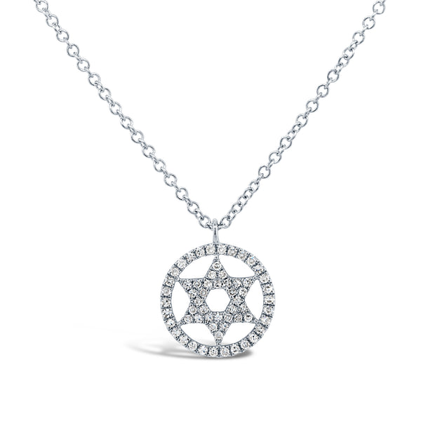 .12 Ctw Diamond & 14 Kt White Gold Star of David