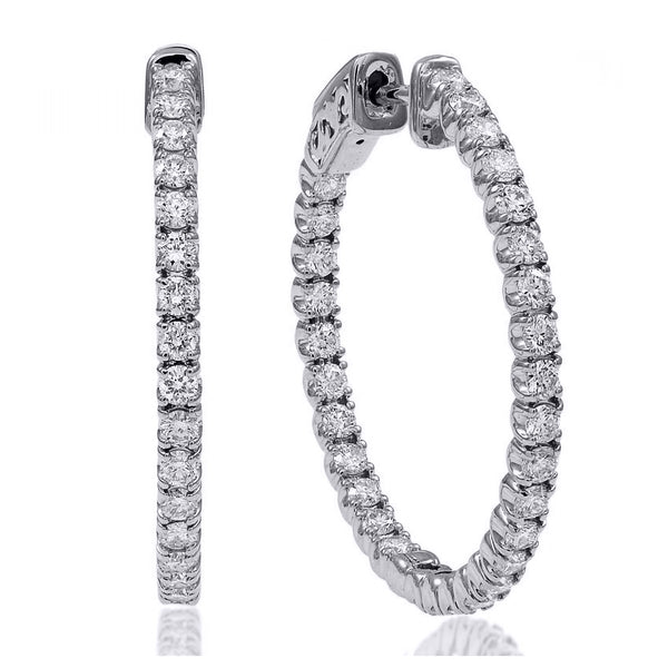 1.50 Ctw Diamond Hoop Earrings