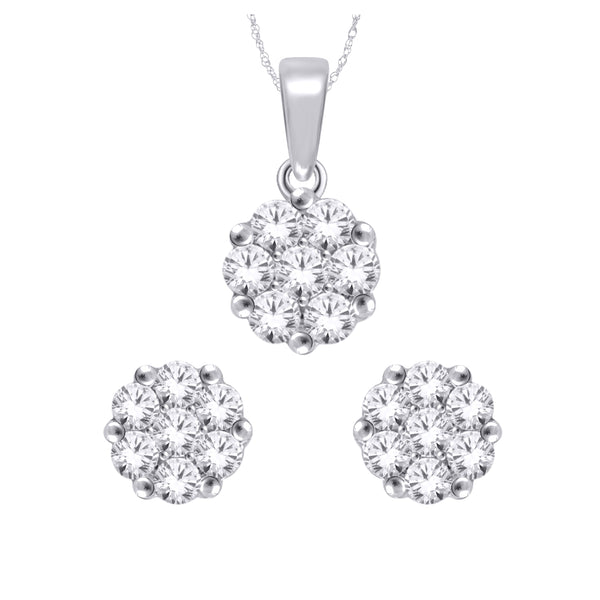 WHITE GOLD & DIAMONDS EARRING & PENDANT  SET