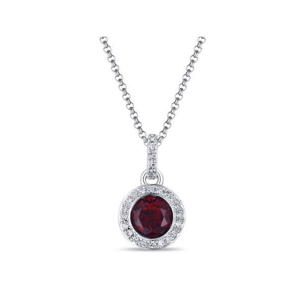 14Kt White Gold Garnet Necklace