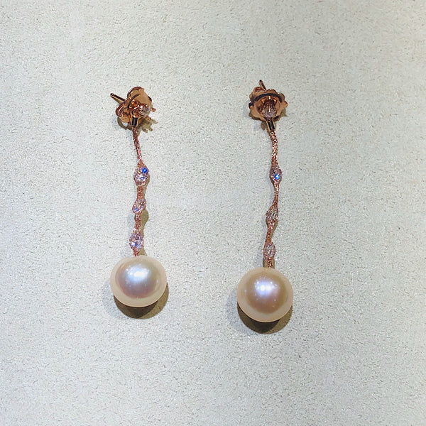 Micheletto Silver Rose Gold Mesh and Pearls Earrings