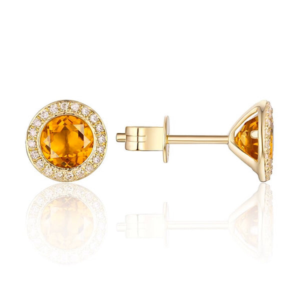 14Kt Yellow Gold Citrine and Diamond Stud Earrings