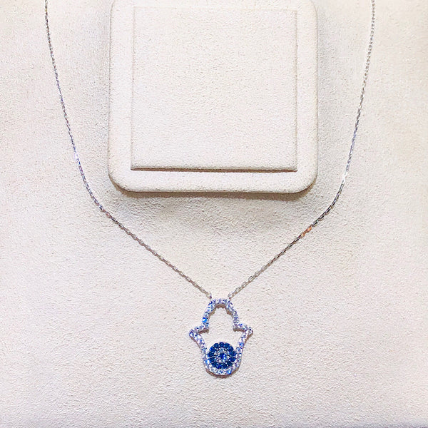 Hamsa Evil Eye Necklace with Swarovski Crystals