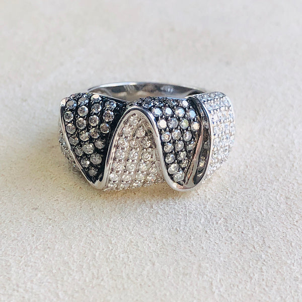 Sterling Silver With Natural White and Champagne Diamonds Ring