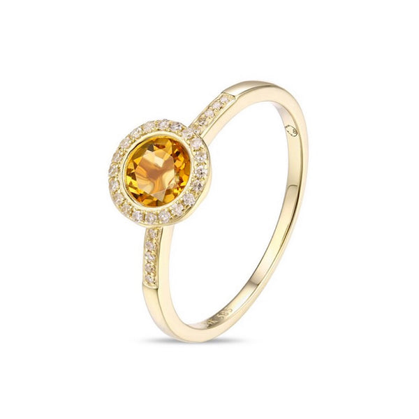 14Kt Yellow Gold Citrine and Diamond Ring