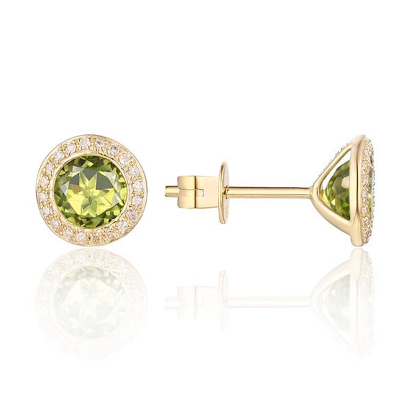 14Kt Yellow Gold Diamond and Peridot Stud Earrings