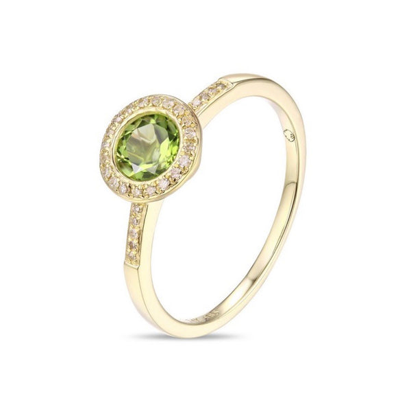14Kt Yellow Gold Peridot and Diamond Ring