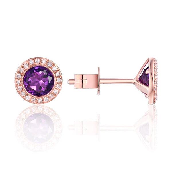 14Kt Rose Gold Amethyst and Diamond Stud Earrings