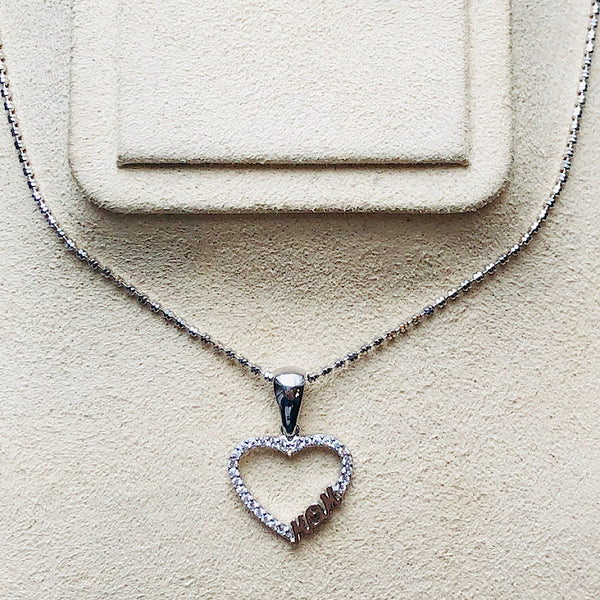 Sterling Silver Mom Heart Pendant With Swarovski Crystals