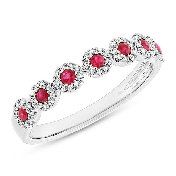Diamond and Ruby White Gold Band