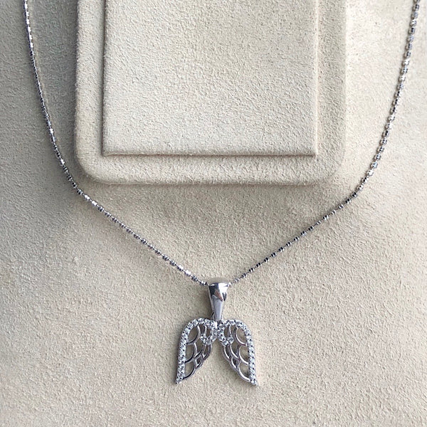 Sterling Silver Angel Wings Pendant with Swarovski Crystals