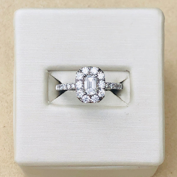 14Kt White Gold Emerald Cut Halo Engagement Ring 1.08ctw