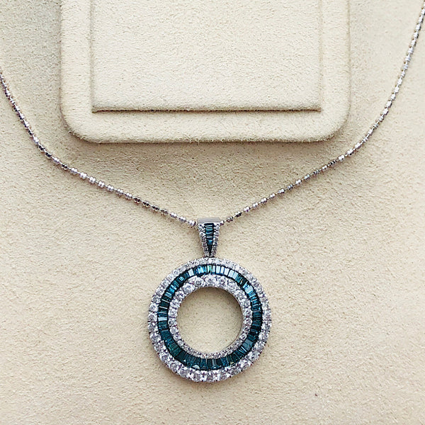 Circle Of Life Blue and White Diamond Pendant