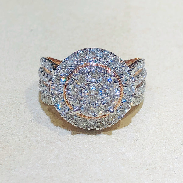 Copy of 10Kt Rose/White Gold Diamond Ring 2Ctw