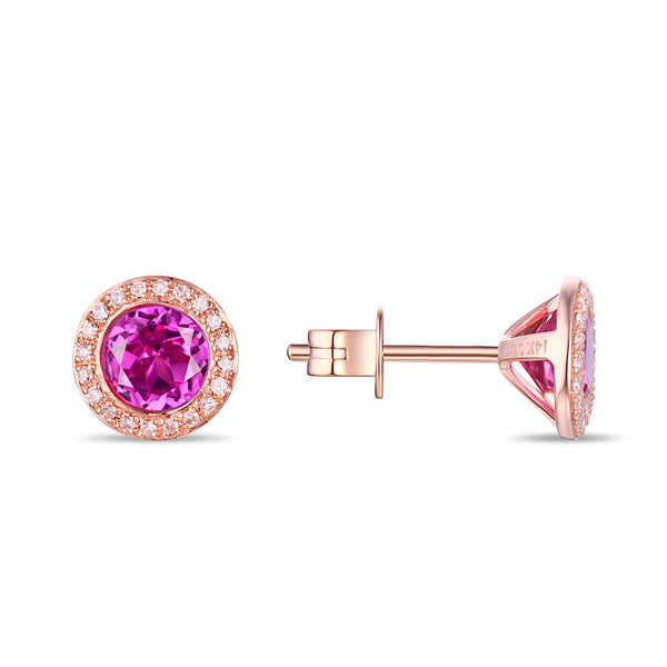14Kt Rose Gold Pink Corundum and Diamond Studs