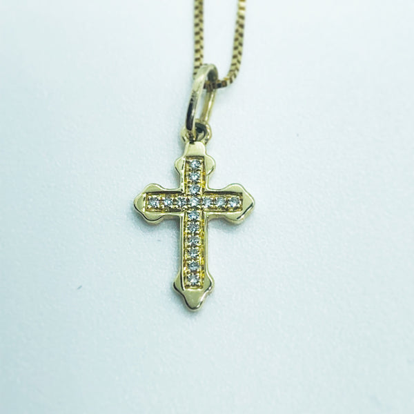 14 Kt Yellow Gold Baby Cross Pendant