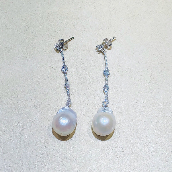Micheletto Silver Mesh and Pearls Silver Earrings