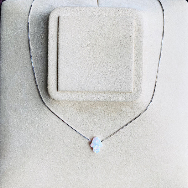 White Opal Hamsa Necklace with Silver Chain