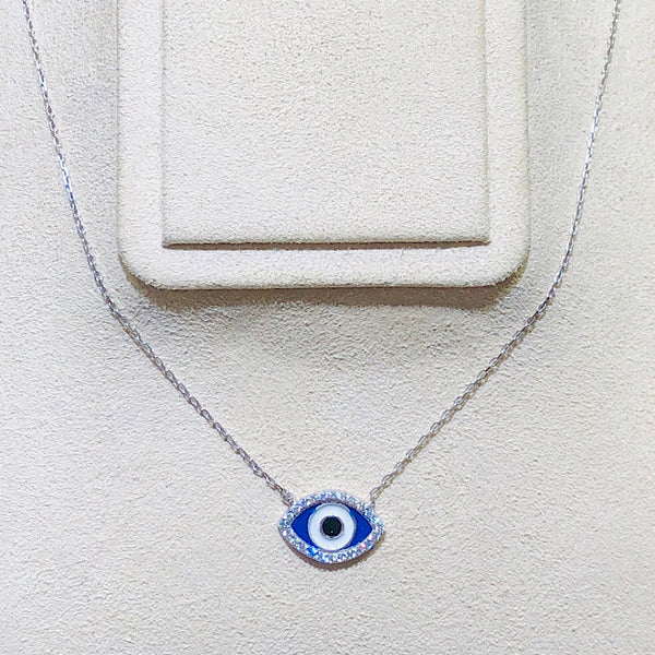Evil Eye White Gold Plated(Rhodium) Necklace