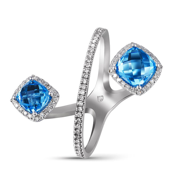 14Kt White Gold Blue Topaz and Diamond open crossover ring