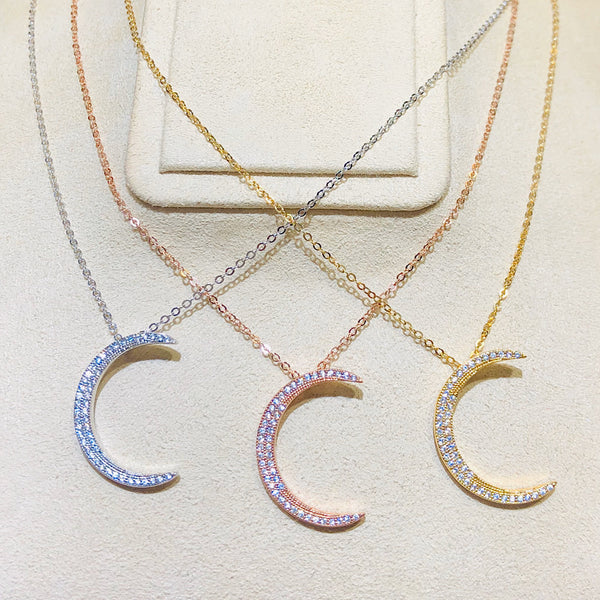 Diamond Cut Swarovski Crystal Moon Necklace