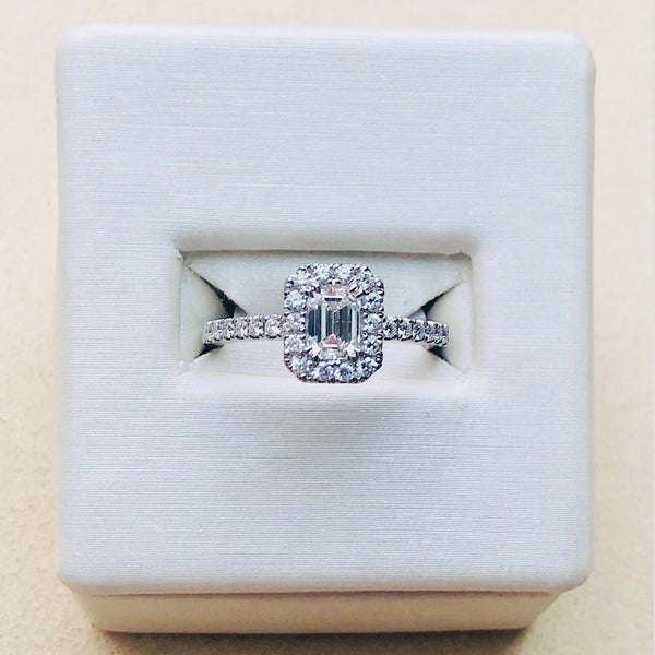 Emerald Cut Diamond Engagement Ring 14Kt White Gold