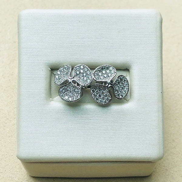 Three Leaf Clover Stud Earrings with Swarovski Crystals