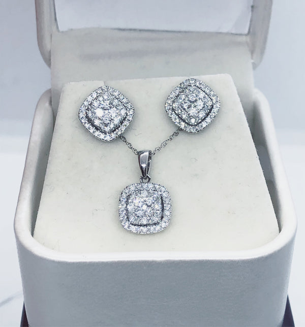 Diamond Earrings & Pendant Set