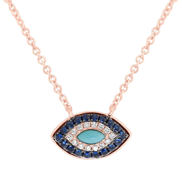 Diamond Rose Gold Evil Eye Necklace