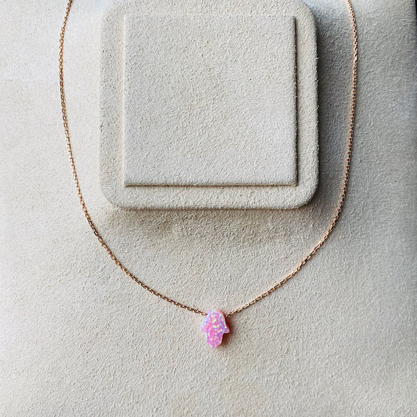 Pink Opal Hamsa Necklace With Rose Gold Plated Chain