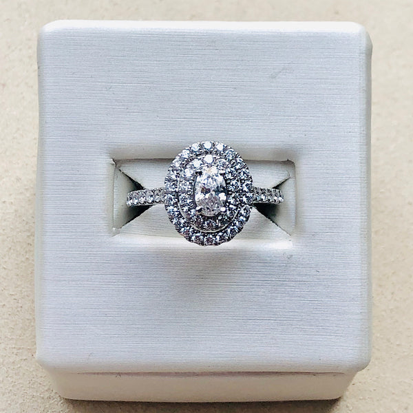 14Kt White Gold Oval Diamond Engagement Ring